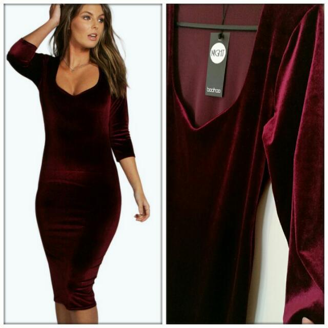 NEW Boohoo Velvet Dress - Size 12