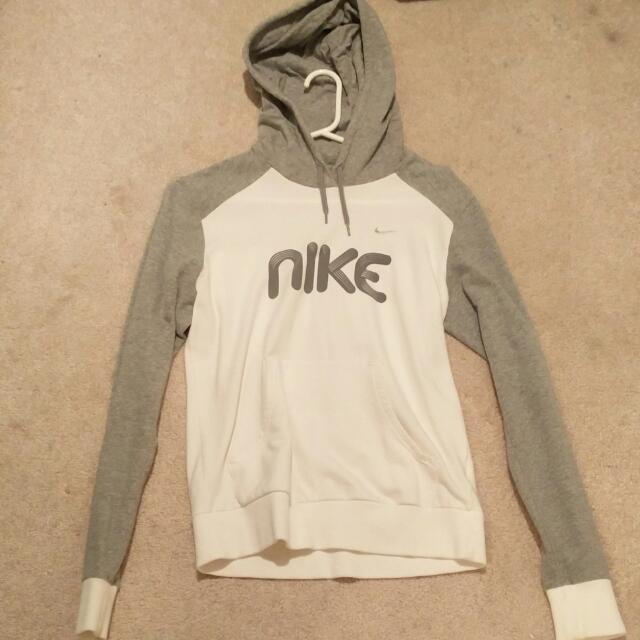 Nike Grey & White Hoodie (Size S)