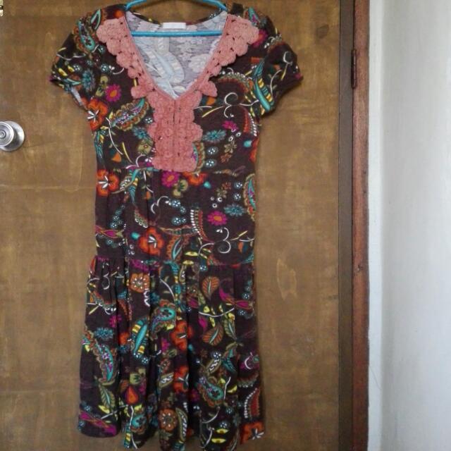 Promod Brown Paisley/Floral Dress