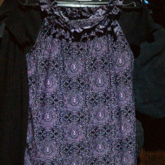 Purple High-neck Blouse