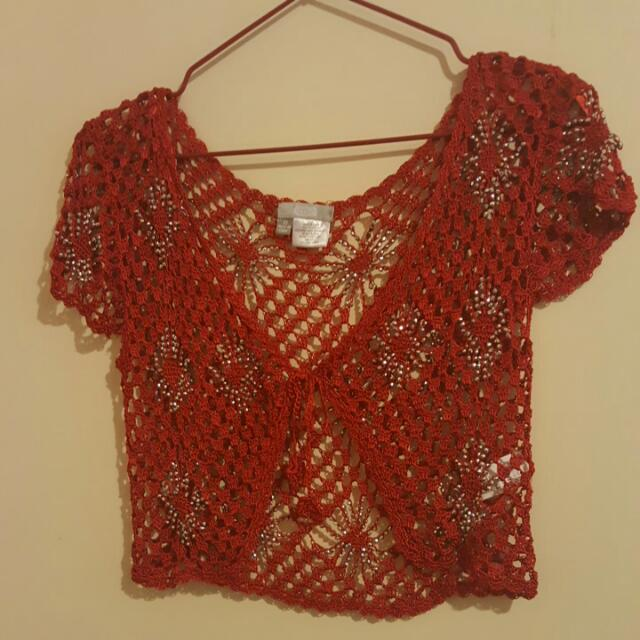 Red Cardigan Size 10