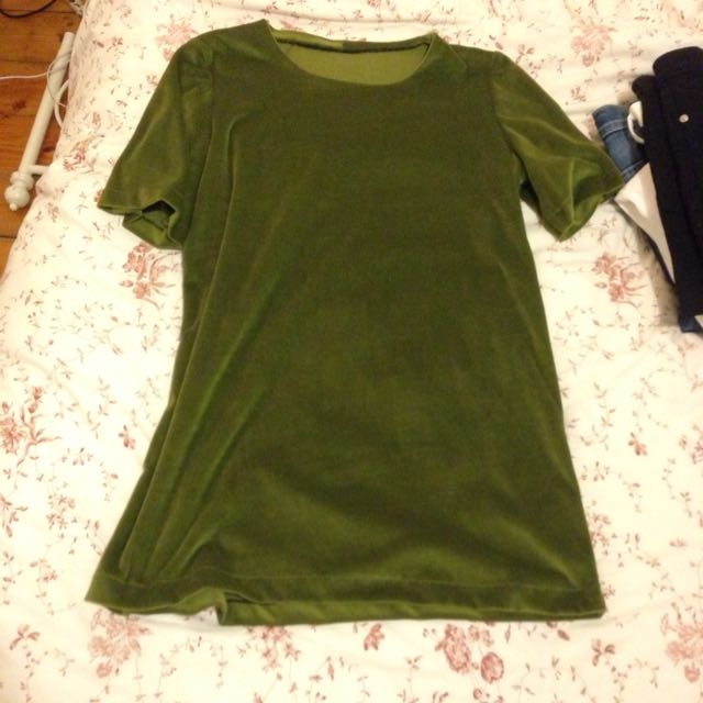 Retro Green Velvet Tshirt Dress