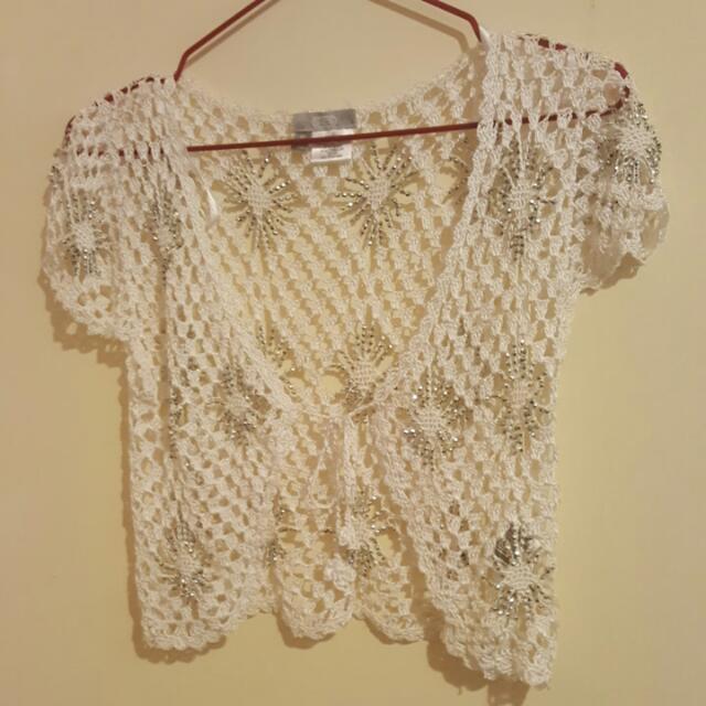 White Summer Cardi With Embellishments Size 10