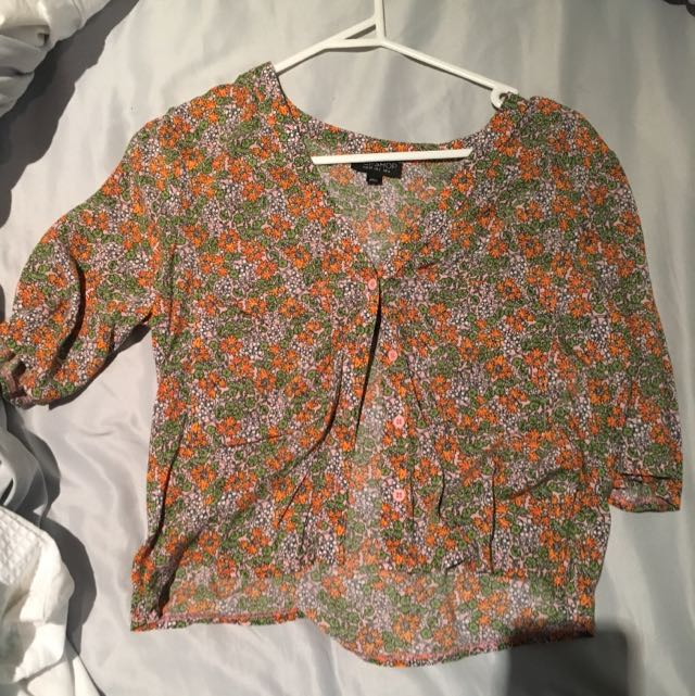 Topshop Cropped T button up shirt