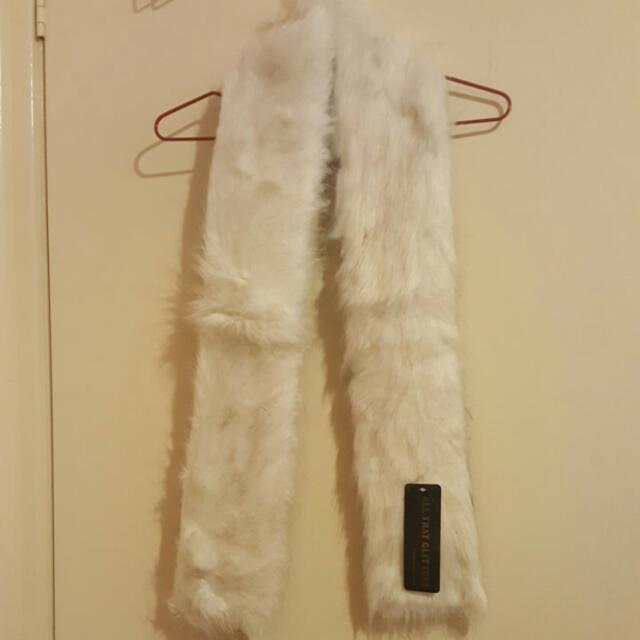 White Faux Fur Scarf