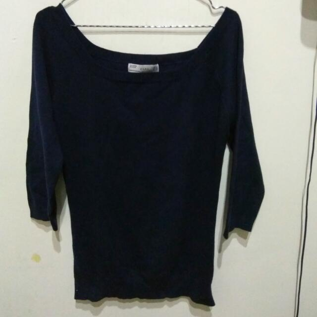 Zara Knit Blouse XL (small) Navy and Black