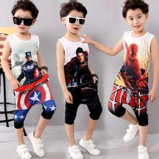 Kids Summer Clothes Boys Cotton Captain America Clothing Set Boys 3d T-shirt+pants 2pc Set Baby Boy Clothes Sport Suit
