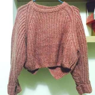 粉紅短版-微前短後長寬袖反折袖毛衣