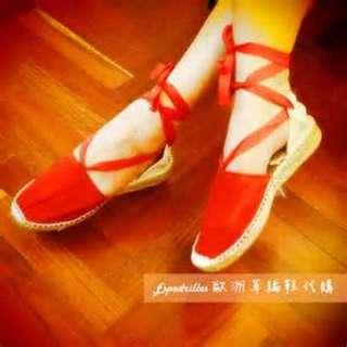 Espadrilles 歐洲草編鞋/綁帶草編鞋-紅