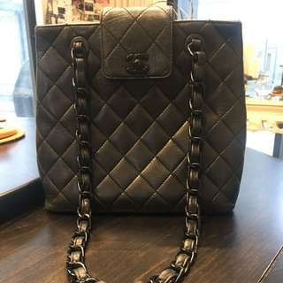 100% Authentic Chanel Shoulder Tote Bag With Black Hardware