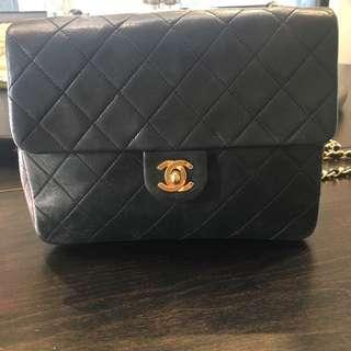 """Vintage Chanel 8"""" Flap Black Quilted Leather Shoulder Mini Bag"""