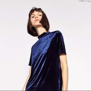 Zara Blue Velvet Shirt