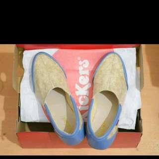 Sepatu Wanita Kickers Slip On / Cream Biru / Flat Shoes Santai Slop Kado Ulang Tahun Tanpa Tali
