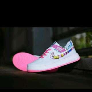 Sepatu Sport Nike Force One Putih Motif / Casual Sneakers Kado Cewek (F1-C)
