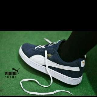 Sepatu Casual Puma Suede Grade Ori / Navy Putih / Sneakers Pria
