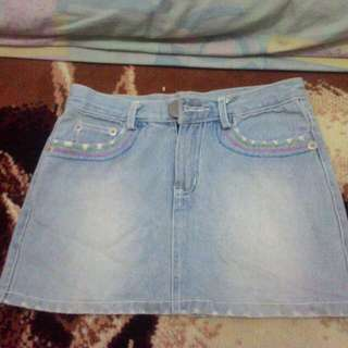 Mini Skirt Light Blue Jeans