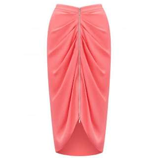 Forever New Coral Draped Pencil Midi Skirt