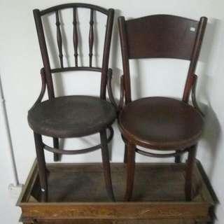 Antique Vintage Wood Kopitiam Coffee Shop Chair