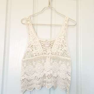 Cream Lace Crochet Top