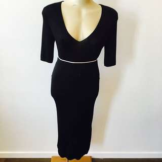 H&M Weighted Black Slinky Dress
