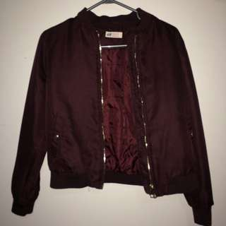 H&M Burgundy Bomber Jacket