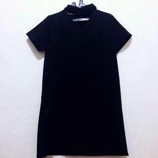 Black Scuba Choker Dress