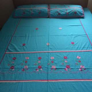 Embroidered Bedsheet and Pillow cases; Made in India