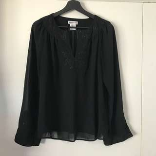 Sussan Top - Size 14 - Long Sleeve Flowy Tunic Blouse