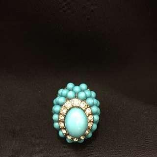 彈性藍色珠珠戒子