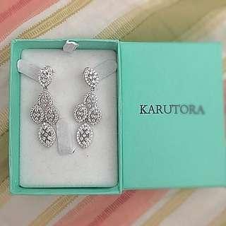 White Silver Earrings Wedding