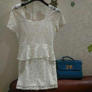 立體蕾絲窄版洋裝