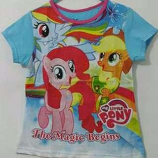Kaos Pony Fullprint Biru Size 7 & 8
