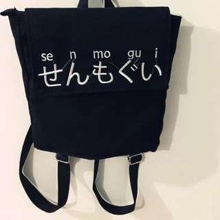 韓國Ulzzang日文什麼鬼刺繡後背包