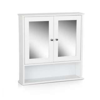 Toilet Mirror Medicine Storage Cabinet White