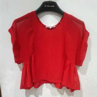Blouse Crop Colorbox Merah