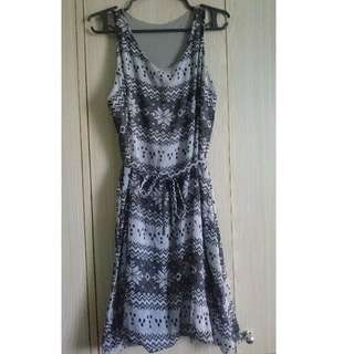 Sleeveless Black and Grey Dress