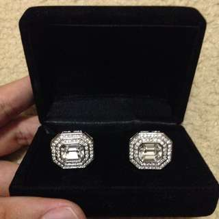 Sterling Silver Cufflinks With Crystal