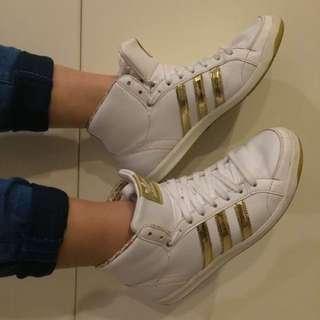 White/Gold Adidas Hi Tops