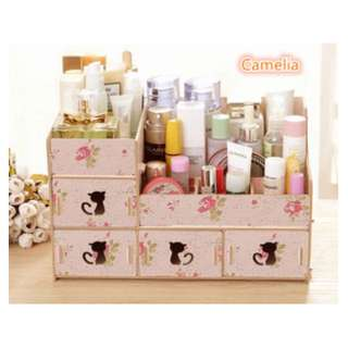 [ KITTY ] Rak kosmetik bahan kayu Desktop storage kitty cat