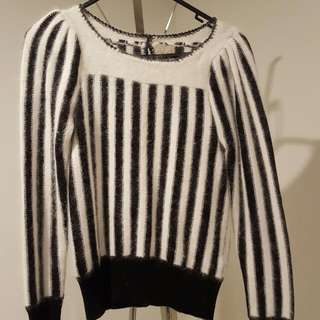 Black And White Striped Jumper Size S