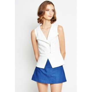 LAB Love and Bravey Hansa Asymmetrical Zipup Blouse in White