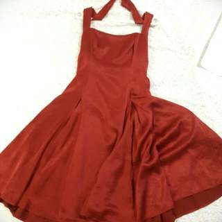 Intangible Red Halter Neck Dress