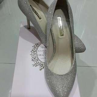 grace gift 金色亮片細高跟女鞋