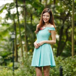 Off Shoulder Turquoise Tifanny Coloured Dress