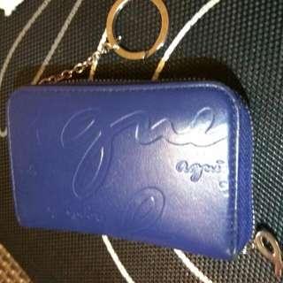 Agnes b. LOGO壓紋鑰匙拉鍊零錢包(紫藍)