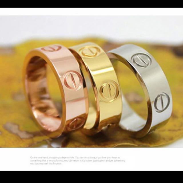 6mm Brand Titanium Steel carter Love Rings for Women Men Couples Cubic Zirconia Wedding Bands Mid Finger Rings