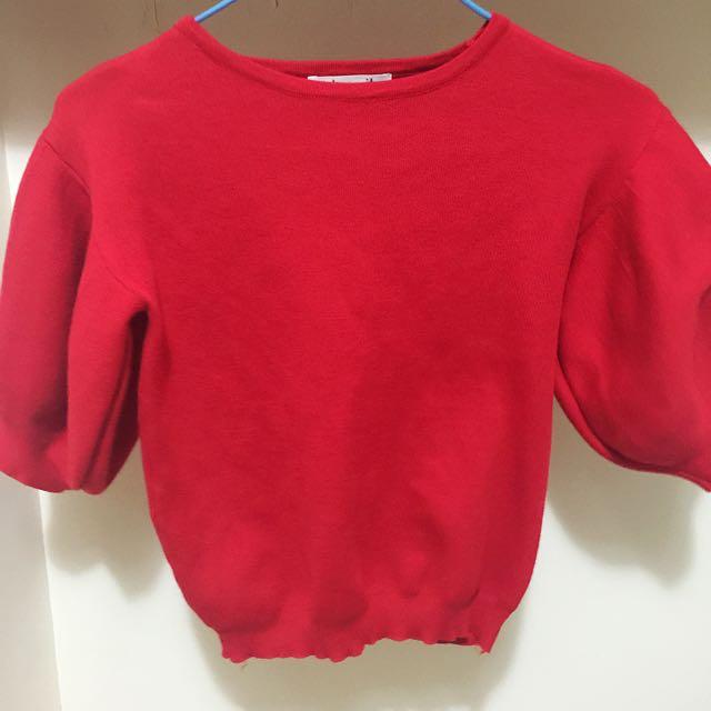 紅色公主袖澎澎袖縮口短版上衣
