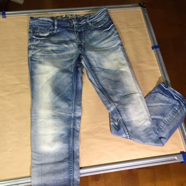 刷白牛仔長褲