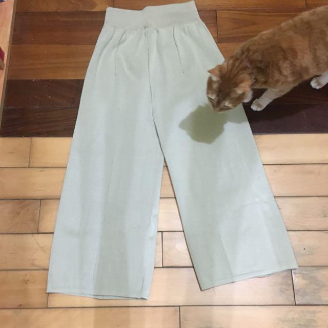 全新杏色螺紋寬褲