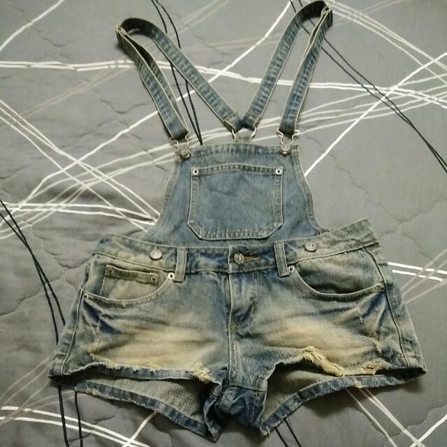 #兩百元短褲 復古吊帶牛仔短褲